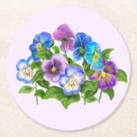 Happy Mother's Day Pansy Violet Flowers Watercolor Round Paper Coaster