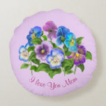 Happy Mother's Day Pansy Violet Flowers Watercolor Round Pillow
