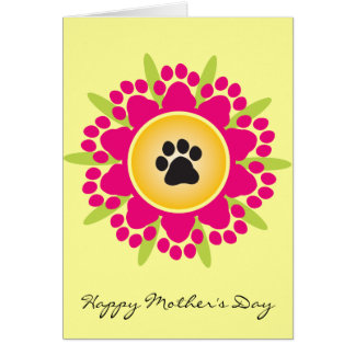 Happy Mother's Day Paw Prints Flower Greeting Cards