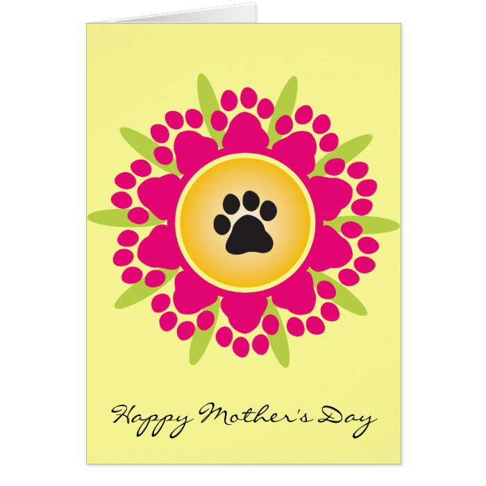 Happy Mother's Day Paw Prints Flower Card