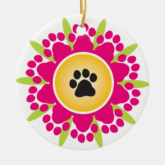 Happy Mother's Day Paw Prints Flower Ceramic Ornament
