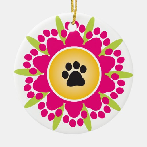 Happy Mother's Day Paw Prints Flower Ornaments