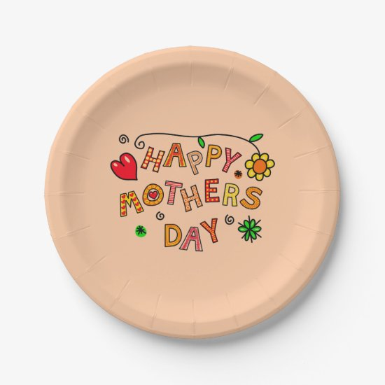Happy Mother's Day Peach Paper Plate