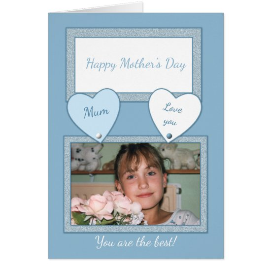 Happy Mother's Day Photo Card blue and white