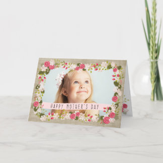 Happy Mother's Day Photo Floral Burlap Card