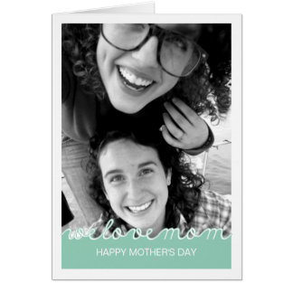 Happy Mothers Day Photo Love Mom Cutout Mint Green Greeting Card