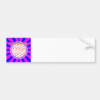 Happy Mother's Day - Pink & Blue Retro Photo Frame Car Bumper Sticker