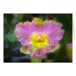Happy Mother's Day Pink Cattleya Orchid Greeting Cards