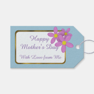Happy Mother's Day Pink Daisy Blue Custom Gift Tag