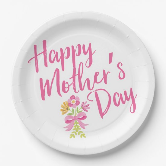 Happy Mother's Day Pink Flowers Bouquet Gift Paper Plate