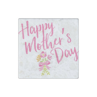 Happy Mother's Day Pink Flowers Bouquet Gift Stone Magnet