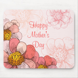 Happy Mother's Day Pink Flowers Mouse Pad