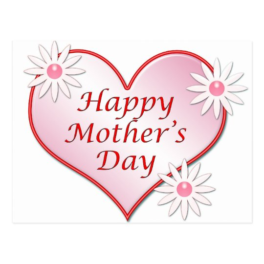 Happy Mother's Day pink heart Postcard