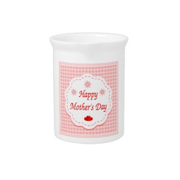 """Valentines Themed """"HAPPY MOTHER'S DAY """" PINK HEARTS BEVERAGE PITCHER"""