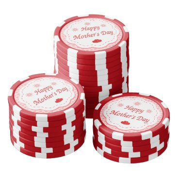 """Valentines Themed """"HAPPY MOTHER'S DAY """" PINK HEARTS SET OF POKER CHIPS"""
