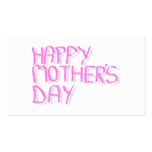 Happy Mothers Day.  Pink Letters. Business Card