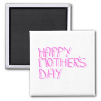 Happy Mothers Day.  Pink Letters. Magnets