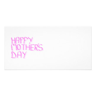 Happy Mothers Day.  Pink Letters. Photo Card
