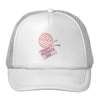 Happy Mother's Day Pink Oval Photo Frame Mesh Hat