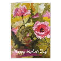 mother's day, poppies, oriental poppies, pink poppies, oil painting, art, fine art', large prints, ginette, flowers, pink flowers', nature, holidays, Card with custom graphic design