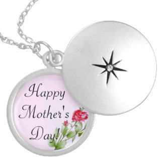 Happy Mother's Day Pink Rose Design Pattern Round Locket Necklace