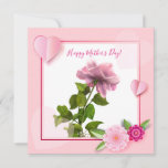 Happy Mother's Day Pink Roses Watercolor Floral Holiday Card