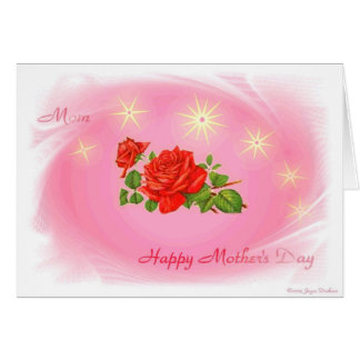 Happy Mother's Day Pink With Red Rose Card