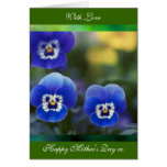 Happy Mother's Day Poem card, Blue Pansies, greeti Card