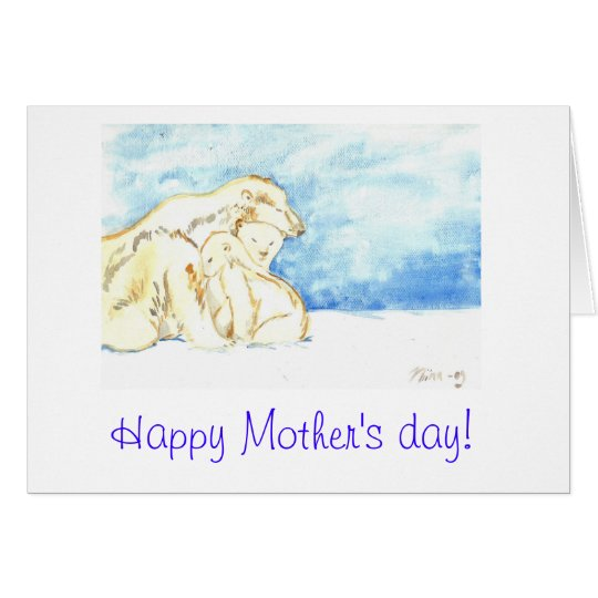 Happy mother's day polar bears greeting card