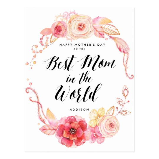 Happy Mothers Day Postcards Best Mom In The World | Zazzle.com