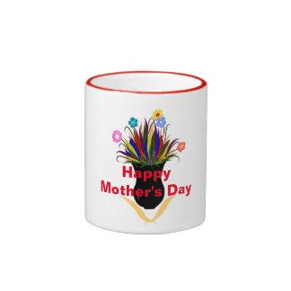 Happy Mother's Day Pretty Flowers Black Vase Ringer Mug