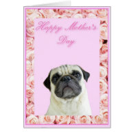 Happy Mother's Day pug greeting card