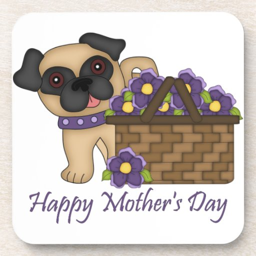 Happy Mother's Day Purple Flower Basket Pug Coasters