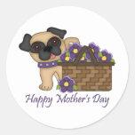 Happy Mother's Day Purple Flower Basket Pug Round Sticker
