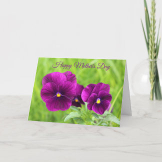 Happy Mother's Day Purple Pansies Card