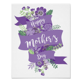 Happy Mother's Day Purple Ribbon and Flowers Print