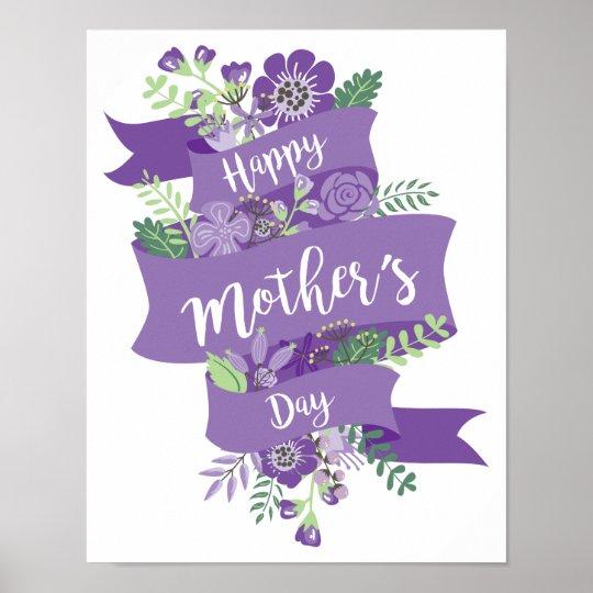 Happy Mothers Day Purple Ribbon And Flowers Print Zazzlecom