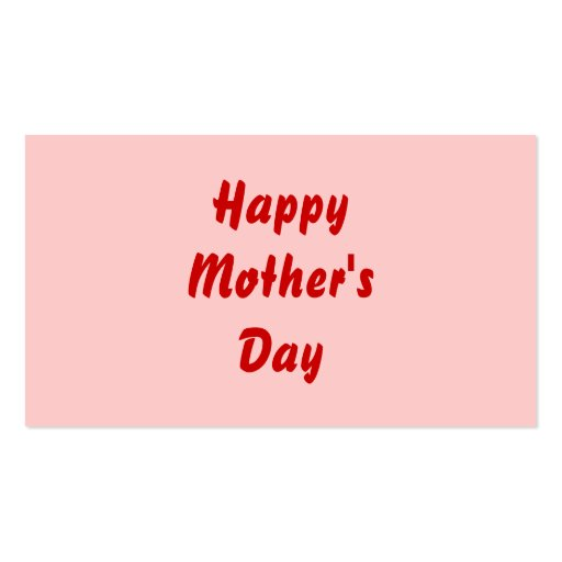 Happy Mothers Day. Red and Pink. Custom Business Card Templates