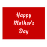 Happy Mothers Day. Red and Pink. Custom Postcard