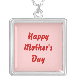 Happy Mothers Day. Red and Pink. Custom Silver Plated Necklace
