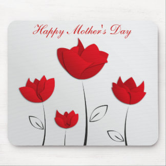 Happy Mother's Day Red Flowers Mouse Pad