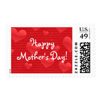 Happy Mother's Day | Red Hearts and Stripes Postage