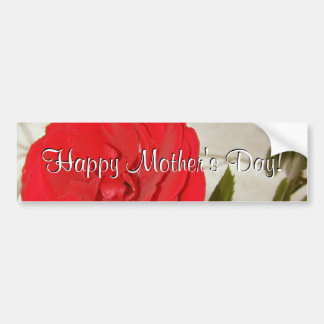 Happy Mother's Day Red Rose Car Bumper Sticker