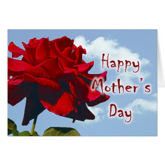 Happy Mother's Day - Red Rose in the Sky Card
