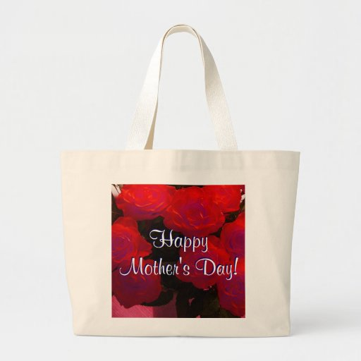 Happy Mother's Day Red Roses Jumbo Tote Bag