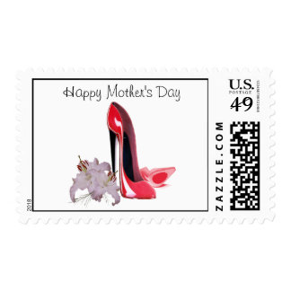 Happy Mother's Day, Red Stiletto Shoes and Lilies  Postage
