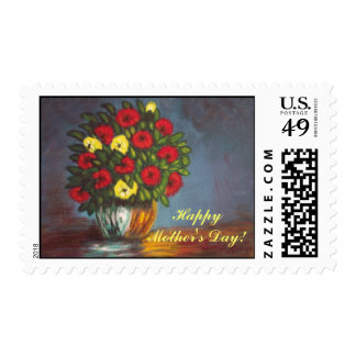 Happy Mothers Day Red Yellow Flowers Stamp