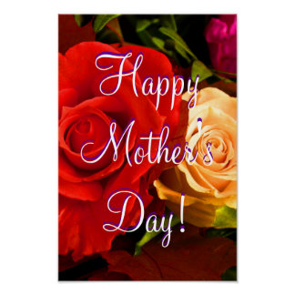 Happy Mother's Day Red Yellow Rose Poster