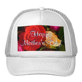 Happy Mother's Day Red Yellow Roses Trucker Hat