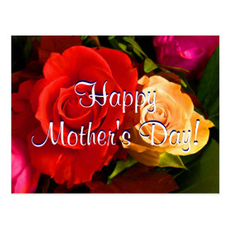 Happy Mother's Day Red Yellow Roses Postcard